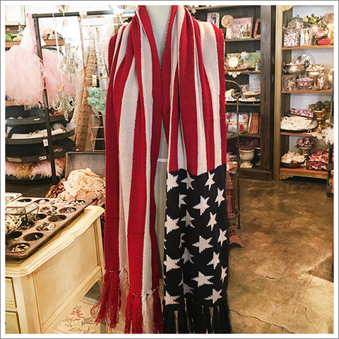 Lush knit stars and stripes patriotic scarf.