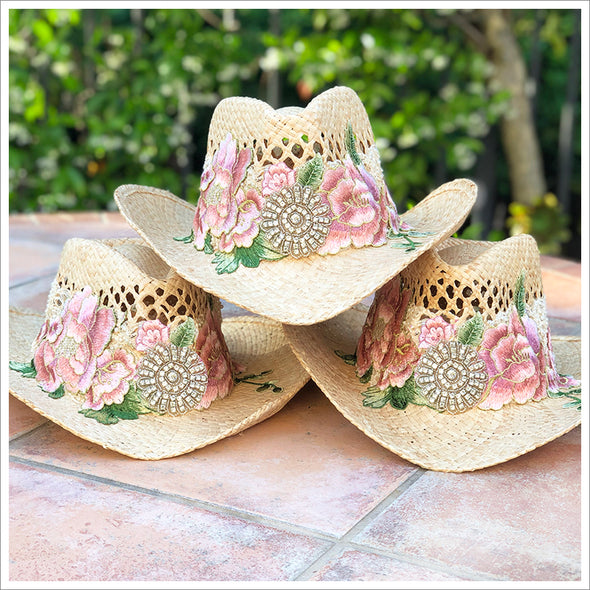 Flower Embellished Cowgirl Hat