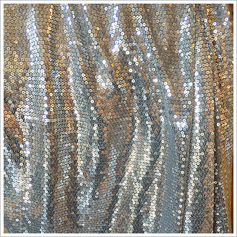 Silver Sequins on Gray Organza