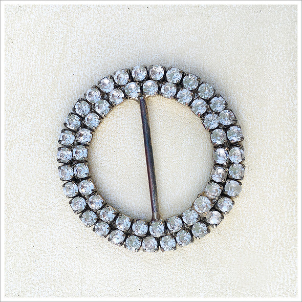 large rhinestone circle slide buckle in silver