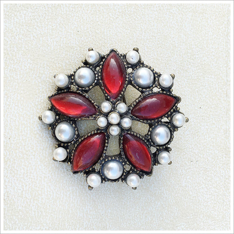 Red and Pearl Vintage Brooch