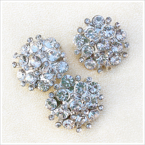 Very sparkly rhinestone button. Stones in two sizes and a bright silver finish.