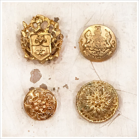 Set of Four Buttons - Gold