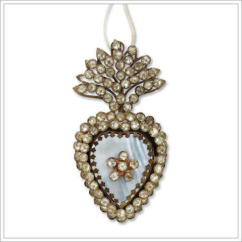French-inspired jeweled mother of pearl flaming heart ex-voto
