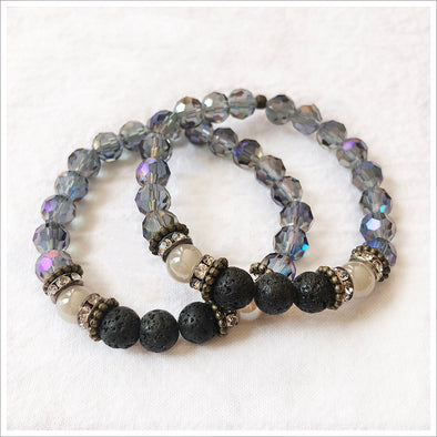 Lilac Fire Polished Lava Bracelet