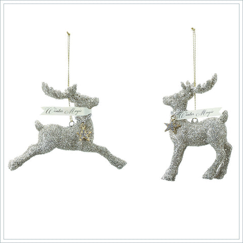 Glittered Reindeer Ornaments
