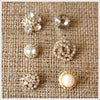 Rhinestone on Gold Button Set
