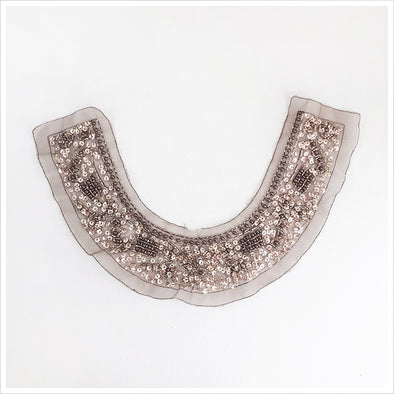 Mocha Bead and Sequin Collar