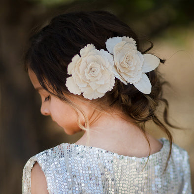 Linen Flower Hair Clips