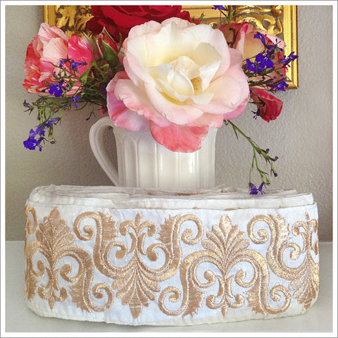 French Metallic Embroidered Ribbon