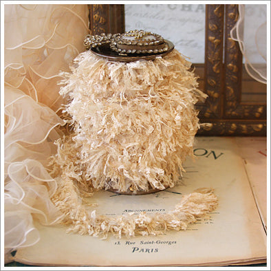 Lace and tulle fringe trim.