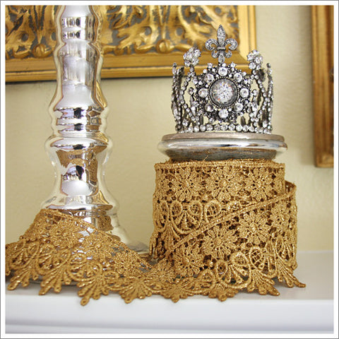 Tarnished Gold or Silver Lace Trim