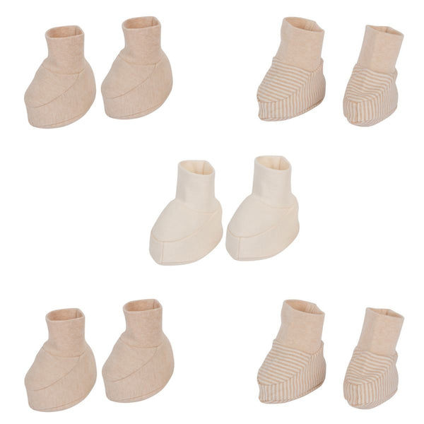 Organic Cotton Baby Booties 5 Pairs Pinstripes Mix