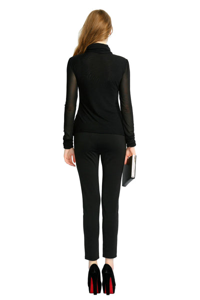 Long Sleeve Hollow Turtleneck Fashion Top | Niteo Collection