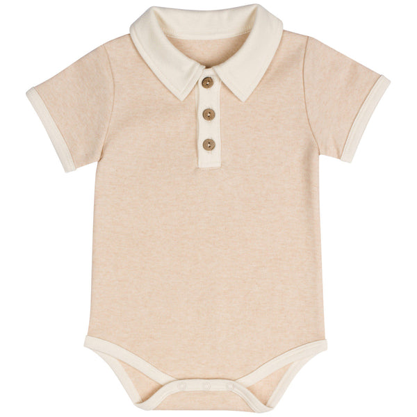 Organic Cotton Baby Boys Polo Bodysuit Light Brown