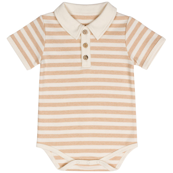 Organic Cotton Baby Boys Polo Bodysuit Stripes