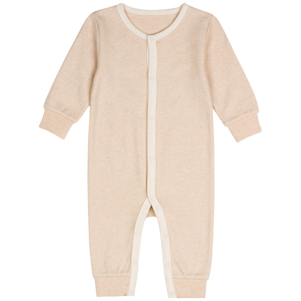 Organic Cotton Snap Front Coverall Light Brown