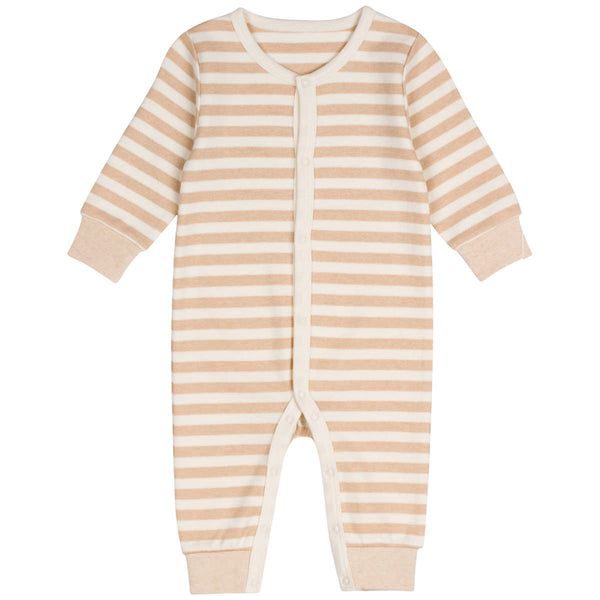 Organic Cotton Snap Front Coverall Stripes