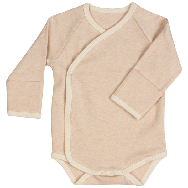 Organic Cotton Kimono Bodysuit With Mitten Cuffs Light Brown