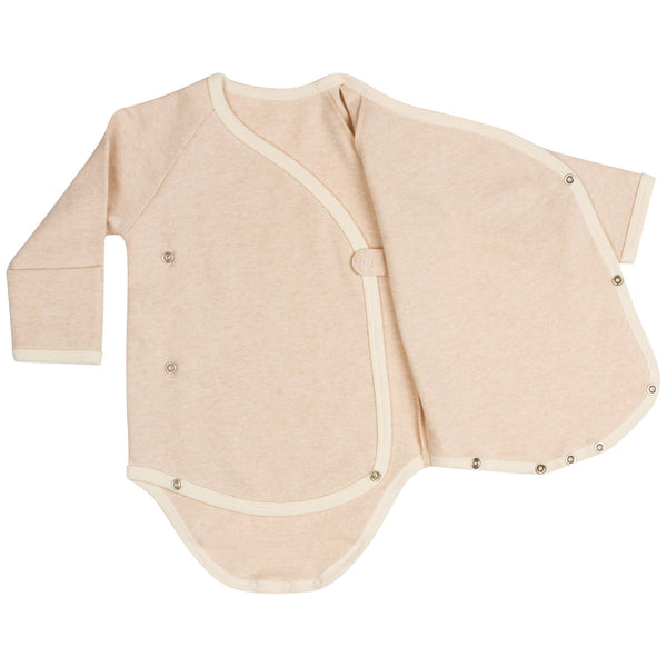 Long Sleeve Organic Cotton Kimono Bodysuit with Mitten Cuffs