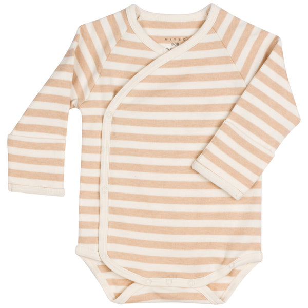 Organic Cotton Kimono Bodysuit With Mitten Cuffs Stripes