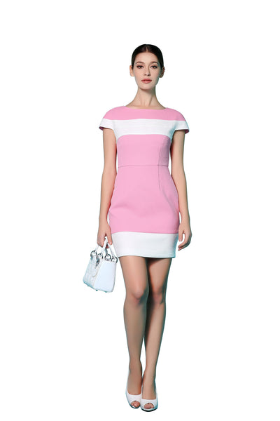 Pink and White Cap-Sleeve Cocktail Dress | Niteo Collection