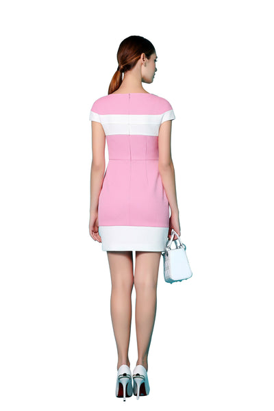 Pink and White Cap-Sleeve Cocktail Dress