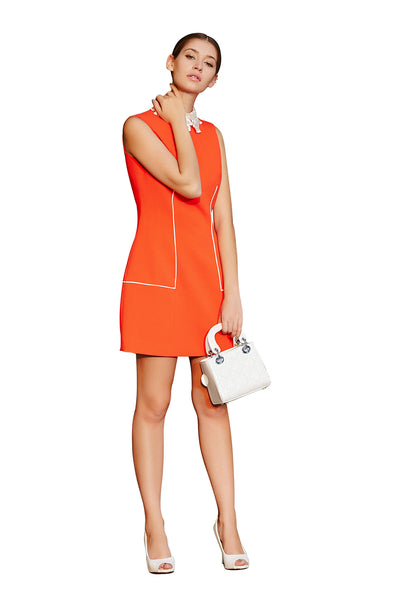 Rhinestone Embellished Collar Sheath Dress | Niteo Collection