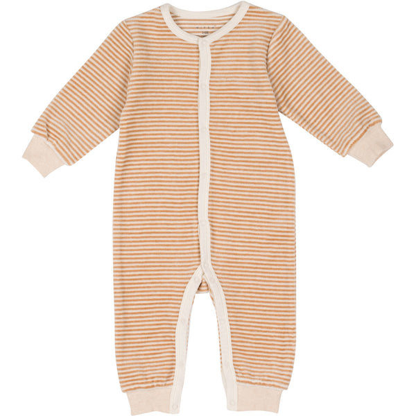 Organic Cotton Velour Coverall Brown Pinstripes