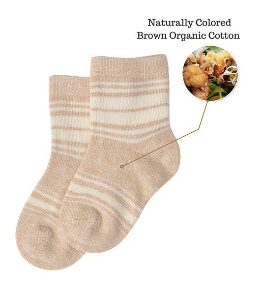 Organic Cotton Baby Socks-Brown