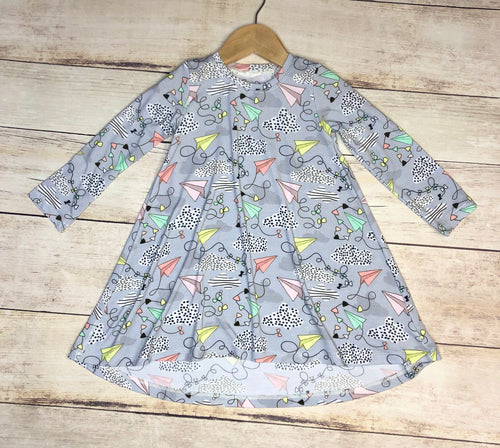 2/3T Paper Airplanes T-Shirt Dress