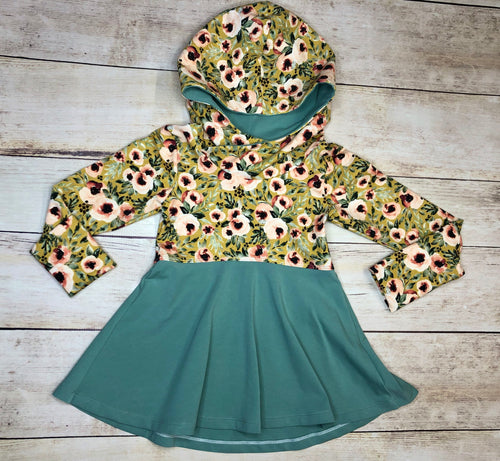 Mustard Floral Grow With Me Hoodie 3-6 years
