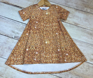Peach Faux Glitter T-Shirt Dress