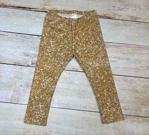 Faux Gold Glitter Leggings
