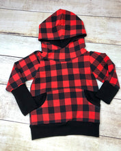 Load image into Gallery viewer, Buffalo Plaid 1-3 Year Grow with me Hoodie