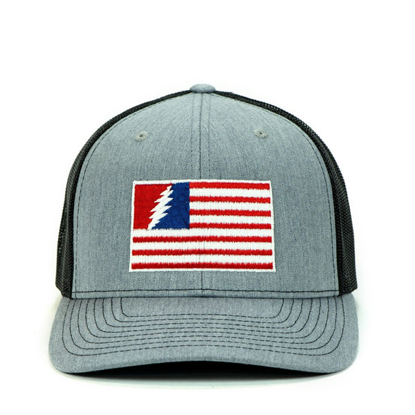 PHD Bolt Flag Glow In The Dark Heather Grey Snapback Trucker Hat