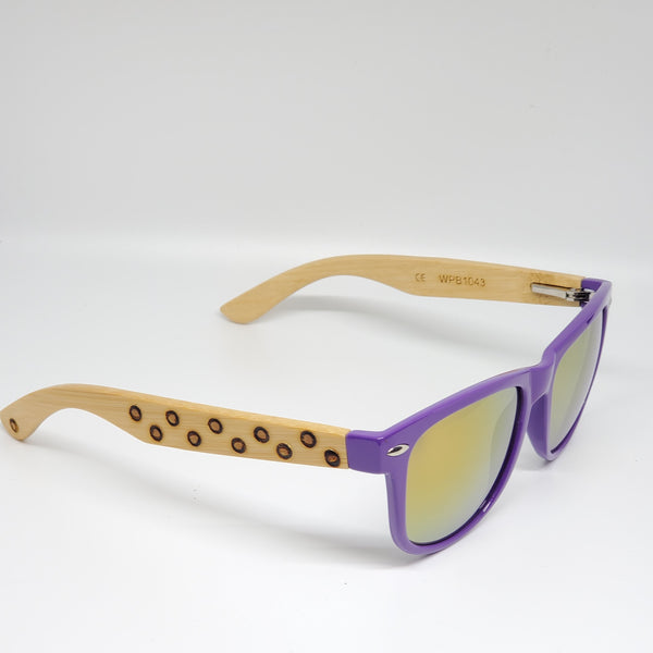 Purple Hand Burned Bamboo Donut Frame Polarized Sunglasses