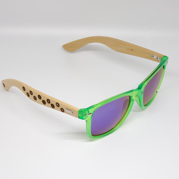 Green Hand Burned Bamboo Donut Frame Polarized Sunglasses