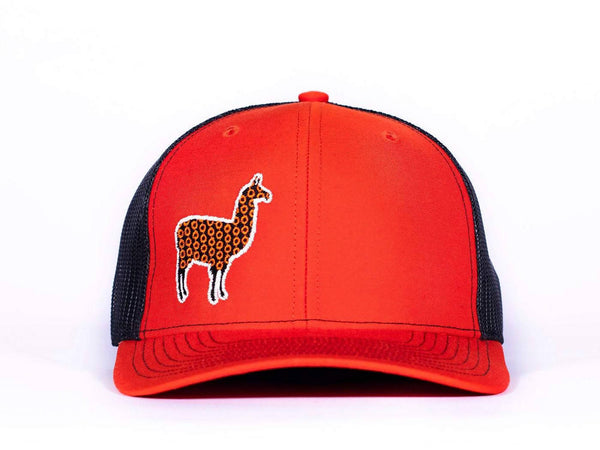 PHD Llama Orange and Black Glow in the Dark Snapback Trucker Hat