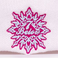 PHD Seven Below White and Raspberry Knit Winter Hat with Pom Pom