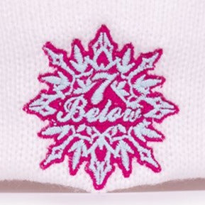 Phish Seven Below White and Raspberry Knit Winter Hat with Pom Pom
