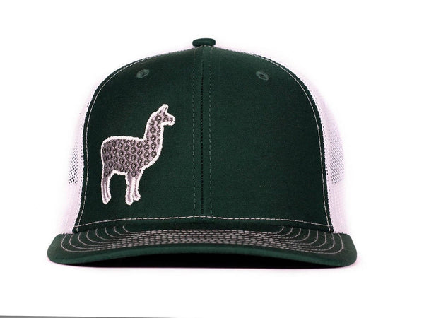 Phish Llama Silver and Green Glow In The Dark on a Green and White Snapback Trucker Hat