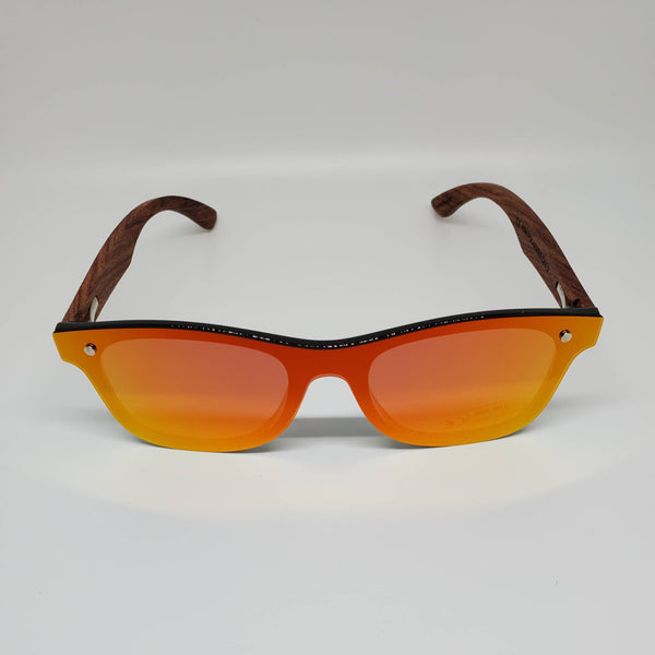 Hand Burned Wooden Donut Frame Sunglasses with Polarized Fire Red/Orange Grey Lenses and Spring Hinges