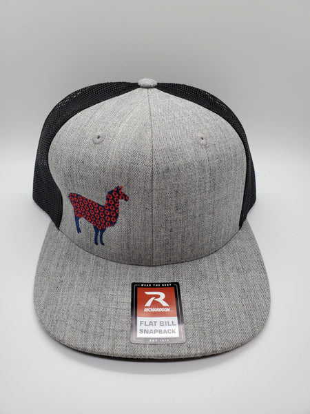 PHD Llama Heather Grey Wool Blend Flat Brim Snapback Trucker Hat