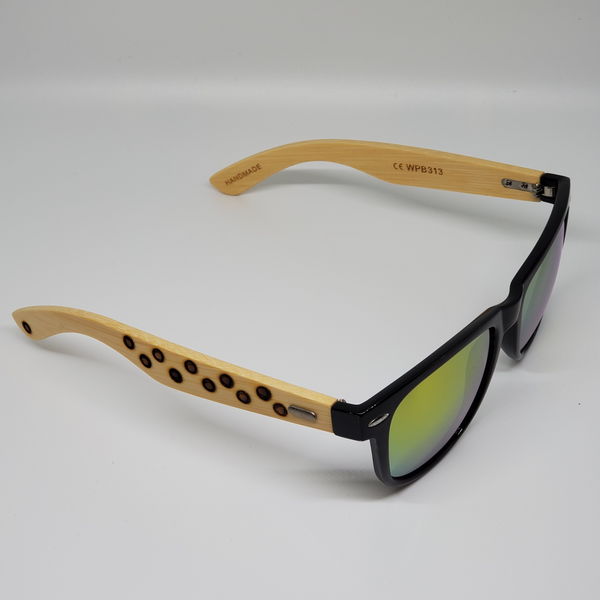 Black Hand Burned Bamboo Donut Frame Polarized Sunglasses