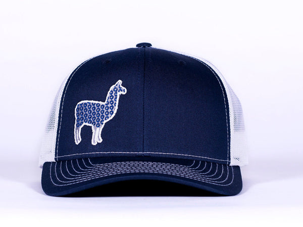 Phish Llama Silver and Navy Glow In The Dark on a Navy Blue and White Snapback Trucker Hat