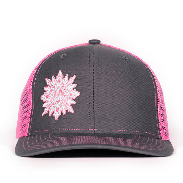 PHD Seven  Below Snowflake Glow In The Dark Neon Pink and  Dark Grey Snapback Trucker Hat