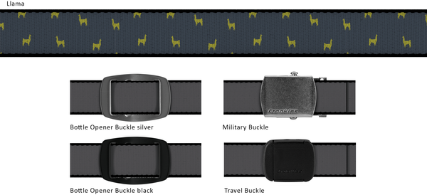 Llama Adjustable Belt with Military Style Buckle