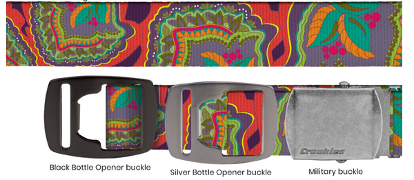 Floral Trip Adjustable Belt with Silver Bottle Opener Buckle