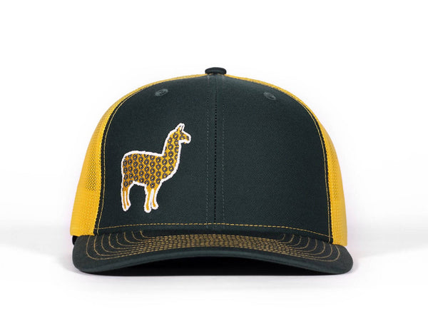 PHD Llama Gold and Green Glow In The Dark on a Greenn and Gold Snapback Trucker Hat